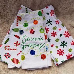 Season Greerings dish towels, set of 3